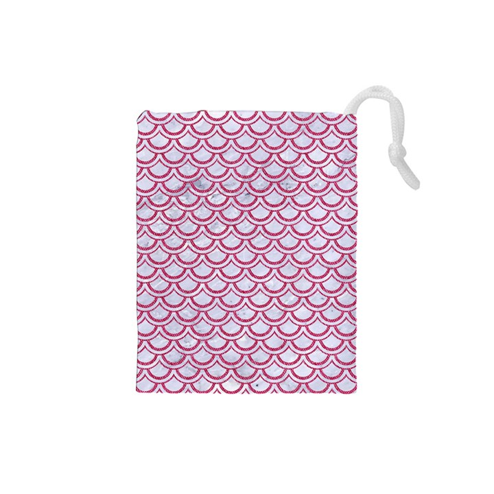 SCALES2 WHITE MARBLE & PINK DENIM (R) Drawstring Pouches (Small)