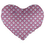 SCALES2 WHITE MARBLE & PINK DENIM (R) Large 19  Premium Flano Heart Shape Cushions Front
