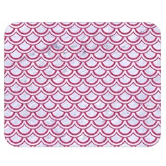Scales2 White Marble & Pink Denim (r) Double Sided Flano Blanket (medium)