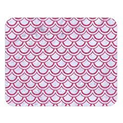 Scales2 White Marble & Pink Denim (r) Double Sided Flano Blanket (large)