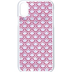 Scales2 White Marble & Pink Denim (r) Apple Iphone X Seamless Case (white)