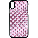 SCALES2 WHITE MARBLE & PINK DENIM (R) Apple iPhone X Seamless Case (Black) Front