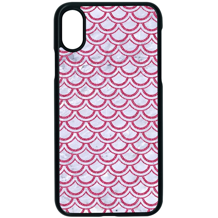 SCALES2 WHITE MARBLE & PINK DENIM (R) Apple iPhone X Seamless Case (Black)