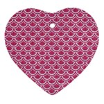 SCALES2 WHITE MARBLE & PINK DENIM Ornament (Heart) Front