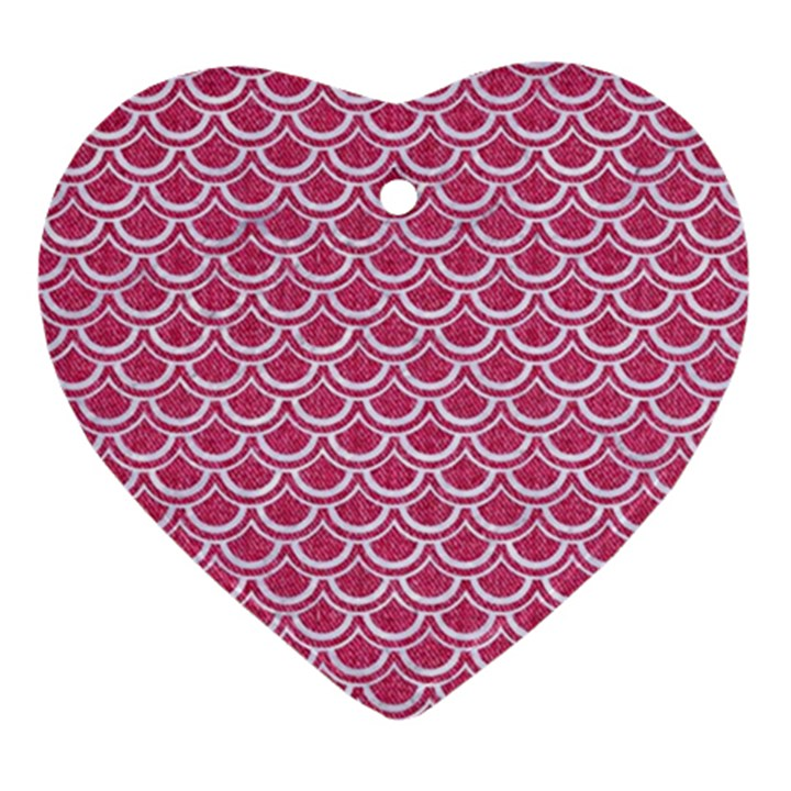 SCALES2 WHITE MARBLE & PINK DENIM Ornament (Heart)