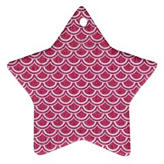 Scales2 White Marble & Pink Denim Ornament (star)