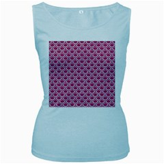 Scales2 White Marble & Pink Denim Women s Baby Blue Tank Top