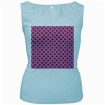 SCALES2 WHITE MARBLE & PINK DENIM Women s Baby Blue Tank Top Front