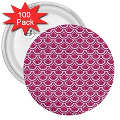 Scales2 White Marble & Pink Denim 3  Buttons (100 Pack)