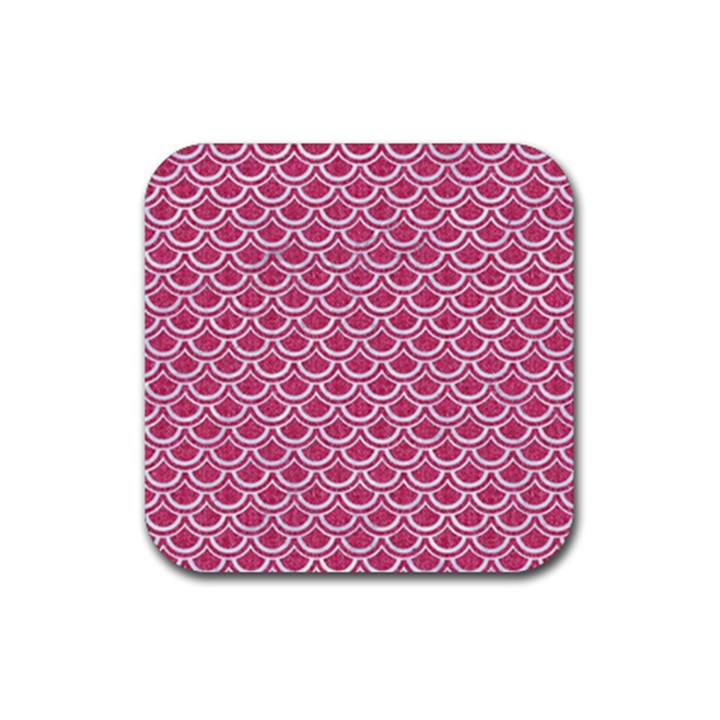 SCALES2 WHITE MARBLE & PINK DENIM Rubber Square Coaster (4 pack)