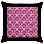 SCALES2 WHITE MARBLE & PINK DENIM Throw Pillow Case (Black) Front