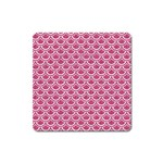 SCALES2 WHITE MARBLE & PINK DENIM Square Magnet Front