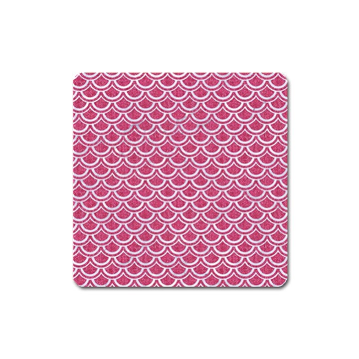SCALES2 WHITE MARBLE & PINK DENIM Square Magnet