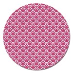 SCALES2 WHITE MARBLE & PINK DENIM Magnet 5  (Round) Front