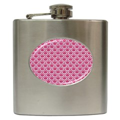 Scales2 White Marble & Pink Denim Hip Flask (6 Oz) by trendistuff