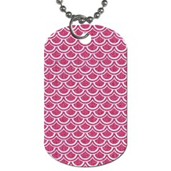 Scales2 White Marble & Pink Denim Dog Tag (two Sides) by trendistuff
