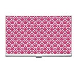 SCALES2 WHITE MARBLE & PINK DENIM Business Card Holders Front