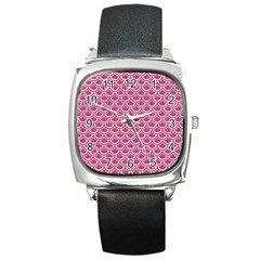 Scales2 White Marble & Pink Denim Square Metal Watch
