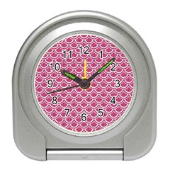 Scales2 White Marble & Pink Denim Travel Alarm Clocks