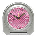 SCALES2 WHITE MARBLE & PINK DENIM Travel Alarm Clocks Front