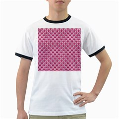 Scales2 White Marble & Pink Denim Ringer T Shirts by trendistuff