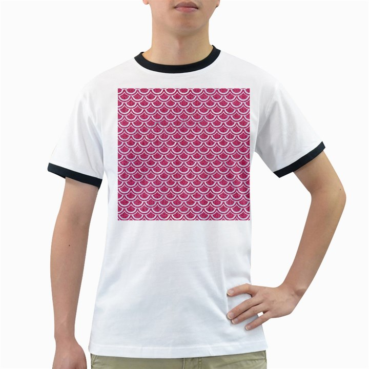 SCALES2 WHITE MARBLE & PINK DENIM Ringer T-Shirts