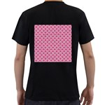 SCALES2 WHITE MARBLE & PINK DENIM Men s T-Shirt (Black) (Two Sided) Back