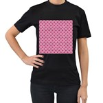 SCALES2 WHITE MARBLE & PINK DENIM Women s T-Shirt (Black) (Two Sided) Front
