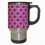 SCALES2 WHITE MARBLE & PINK DENIM Travel Mugs (White) Right