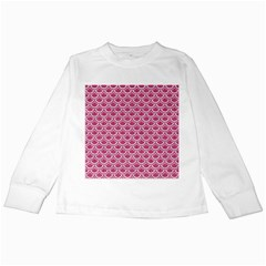 Scales2 White Marble & Pink Denim Kids Long Sleeve T Shirts