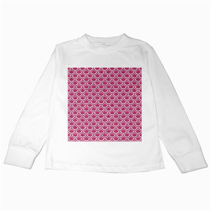 SCALES2 WHITE MARBLE & PINK DENIM Kids Long Sleeve T-Shirts