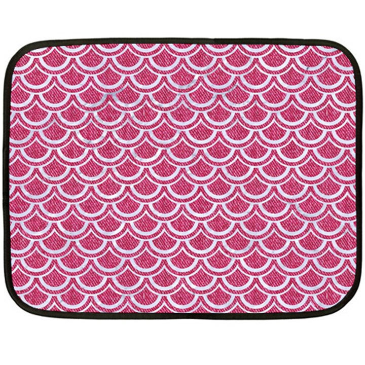 SCALES2 WHITE MARBLE & PINK DENIM Fleece Blanket (Mini)