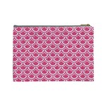 SCALES2 WHITE MARBLE & PINK DENIM Cosmetic Bag (Large)  Back