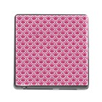 SCALES2 WHITE MARBLE & PINK DENIM Memory Card Reader (Square) Front