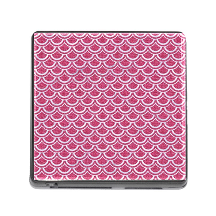 SCALES2 WHITE MARBLE & PINK DENIM Memory Card Reader (Square)