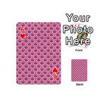 SCALES2 WHITE MARBLE & PINK DENIM Playing Cards 54 (Mini)  Front - Heart6