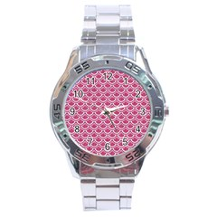Scales2 White Marble & Pink Denim Stainless Steel Analogue Watch