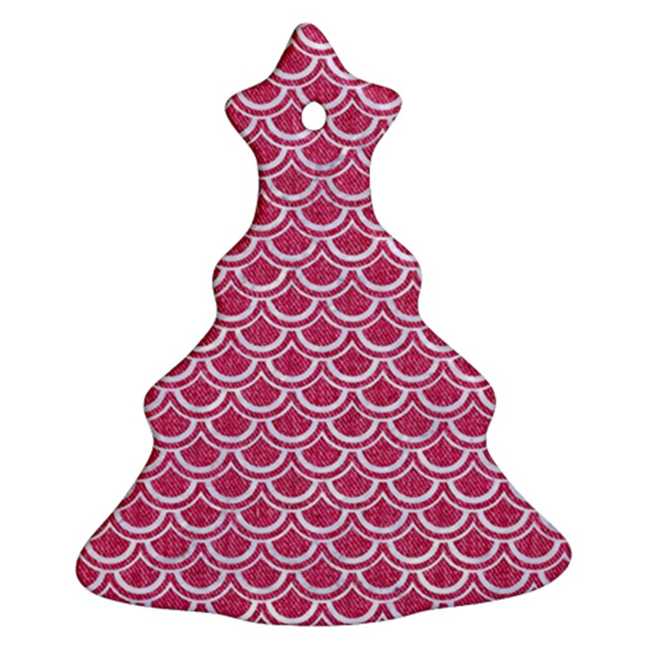 SCALES2 WHITE MARBLE & PINK DENIM Ornament (Christmas Tree)
