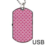 SCALES2 WHITE MARBLE & PINK DENIM Dog Tag USB Flash (One Side) Front