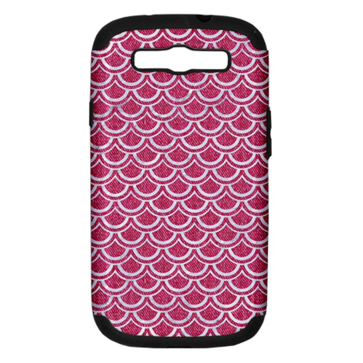SCALES2 WHITE MARBLE & PINK DENIM Samsung Galaxy S III Hardshell Case (PC+Silicone)