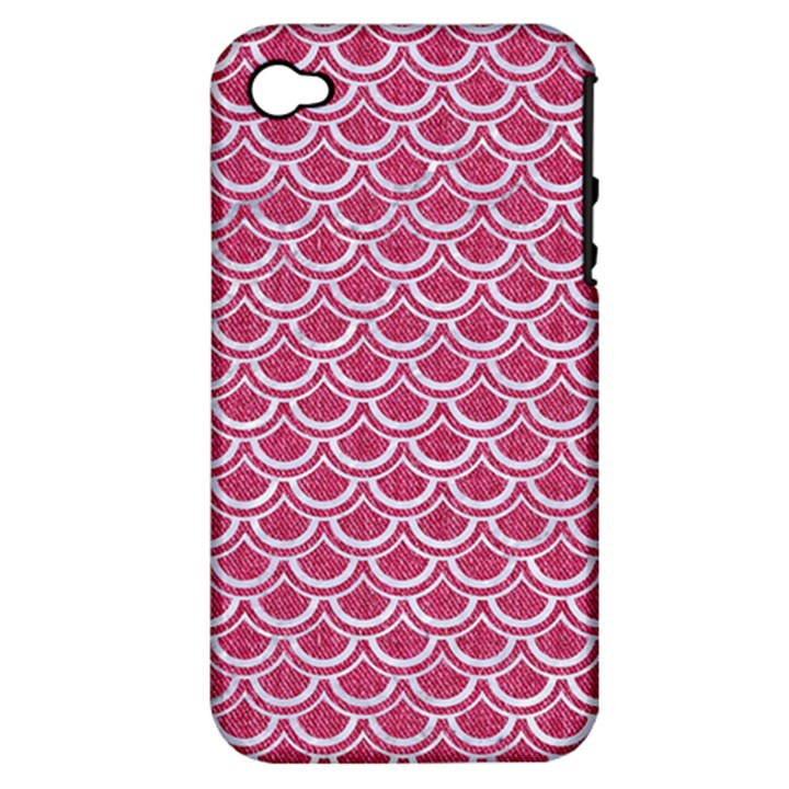 SCALES2 WHITE MARBLE & PINK DENIM Apple iPhone 4/4S Hardshell Case (PC+Silicone)