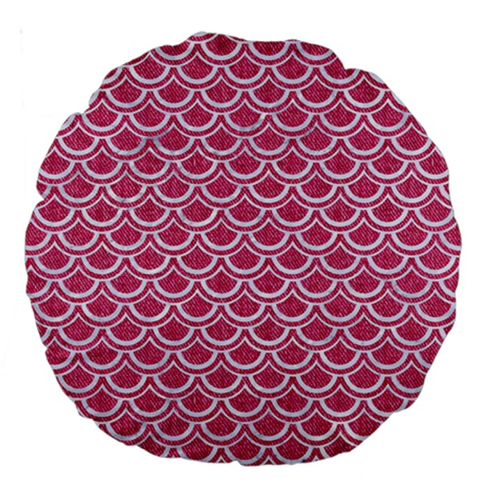 SCALES2 WHITE MARBLE & PINK DENIM Large 18  Premium Round Cushions