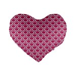 SCALES2 WHITE MARBLE & PINK DENIM Standard 16  Premium Heart Shape Cushions Front