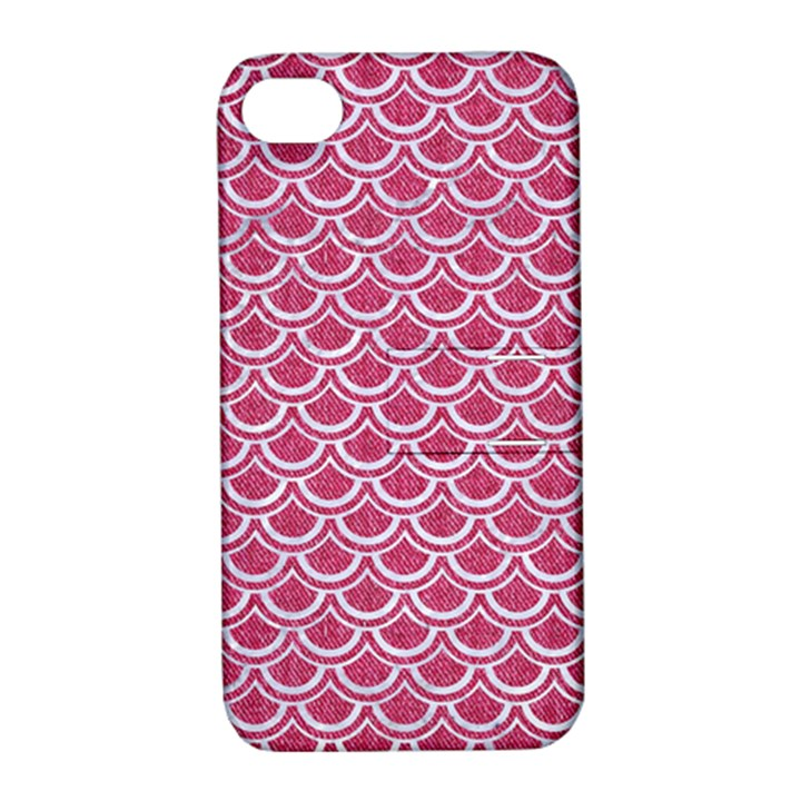 SCALES2 WHITE MARBLE & PINK DENIM Apple iPhone 4/4S Hardshell Case with Stand