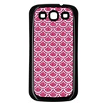 SCALES2 WHITE MARBLE & PINK DENIM Samsung Galaxy S3 Back Case (Black) Front