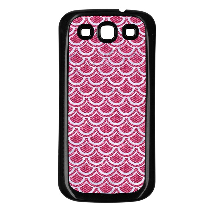 SCALES2 WHITE MARBLE & PINK DENIM Samsung Galaxy S3 Back Case (Black)
