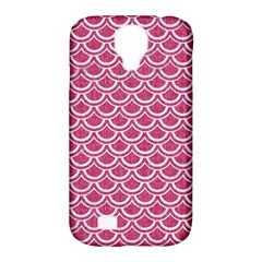 Scales2 White Marble & Pink Denim Samsung Galaxy S4 Classic Hardshell Case (pc+silicone)