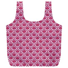 Scales2 White Marble & Pink Denim Full Print Recycle Bags (l)