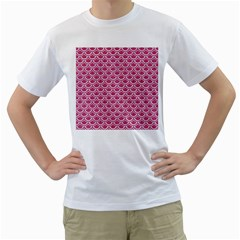 Scales2 White Marble & Pink Denim Men s T Shirt (white)