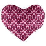 SCALES2 WHITE MARBLE & PINK DENIM Large 19  Premium Flano Heart Shape Cushions Front